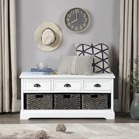 Merax Wood Storage Bench with 3 Drawers and 3 Woven Baskets