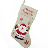 "18"" Burlap ""Merry Christmas"" Santa Claus Embroidered Christmas Stocking (Pack of 2)"