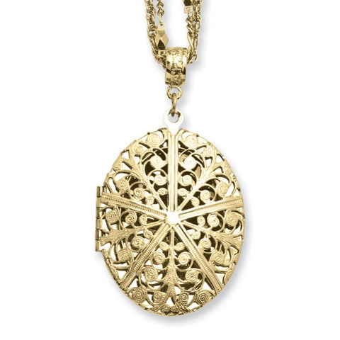 Brass Oval Locket on Double Chain Necklace - 16in