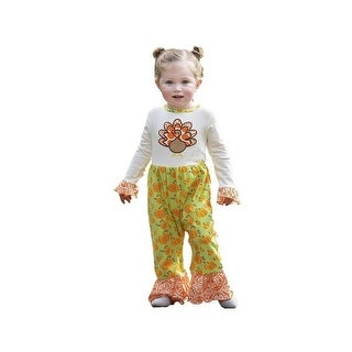 AnnLoren Baby Girls Orange Turkey Pumpkin Tunic Pants Thanksgiving Romper