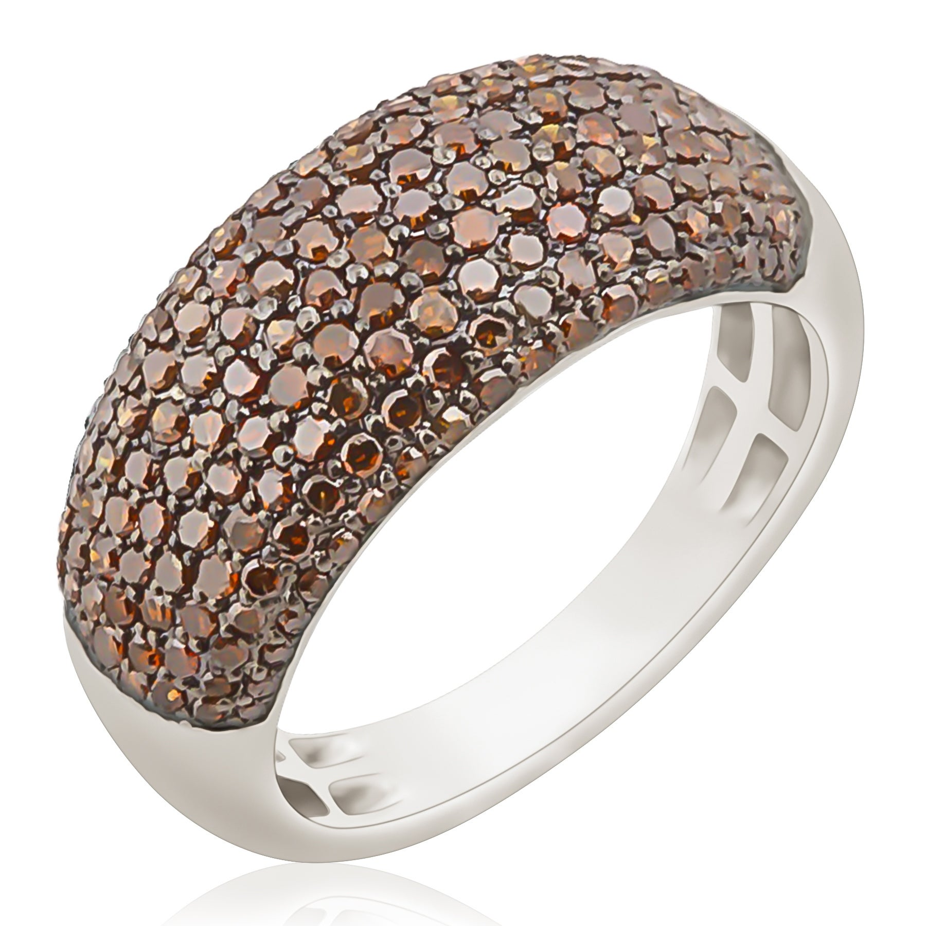 1.02 Carat Round Brilliant Cut Cognac Color Diamond Wedding Band - Thumbnail 0