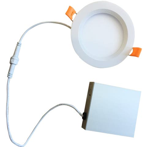 """Bulbrite Pack of (2) LED 8"""" Round Recessed Downlight Fixture with Metal Jbox & Baffle, 100W Equivalent"""