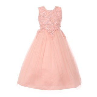 Girls Blush Pink Pearl Sequin Tulle Satin Junior Bridesmaid Dress