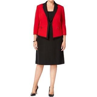 Tahari ASL Womens Plus Skirt Suit Colorblocked Non-Vented