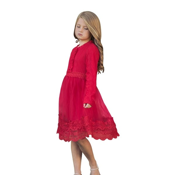 23d5e4c1ed Shop Little Girls Red Lace Tulle Long Sleeve Button Sadie Dress - Free  Shipping Today - Overstock - 23083148