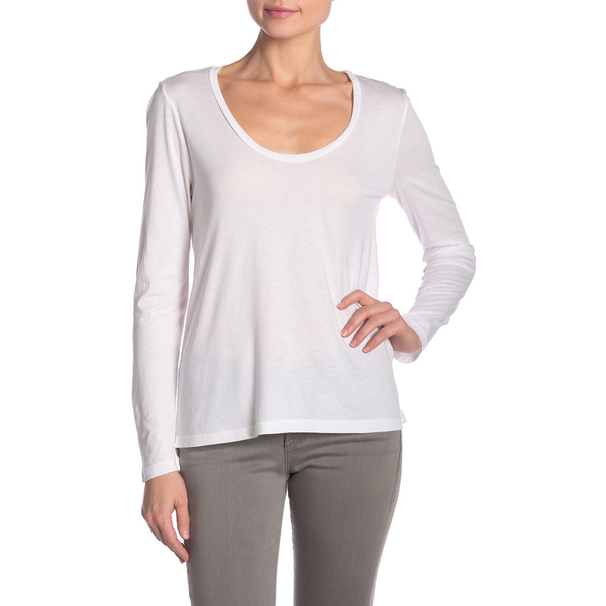 f5bc77f9eb26a2 Shop Splendid White Womens Size Medium M Long Sleeve Scoop Neck Top - Free  Shipping On Orders Over $45 - Overstock - 27656345
