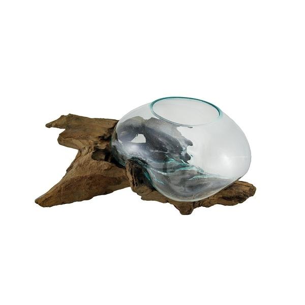 Shop Glass On Teak Driftwood Hand Sculpted Molten Bowl Plant