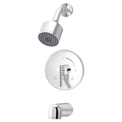 Symmons S-3502-CYL-B Dia Tub and Shower Trim Package with Single Function Shower Head and Double Lever Handle -