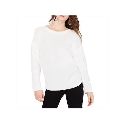 INC Womens White Fringed Long Sleeve Crew Neck Sweater Size XL