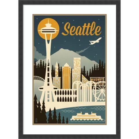 Framed Wall Art Print Seattle by Lantern Press 22.50 x 30.50-inch