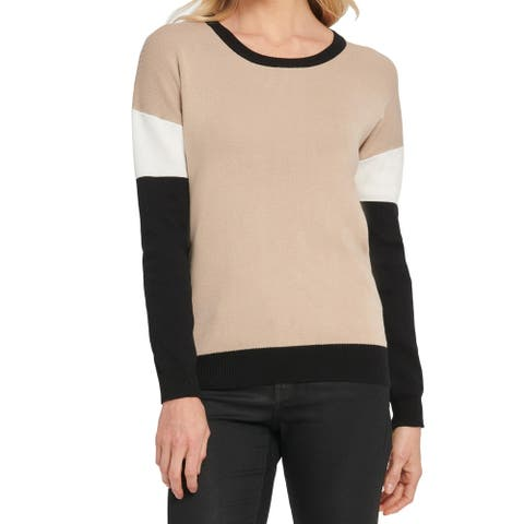 DKNY Womens Crewneck Sweater Colorblock Pullover - Khaki/Black/White