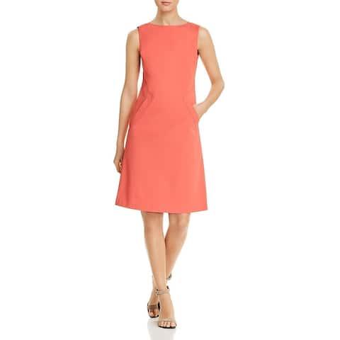 Lafayette 148 New York Womens Ensley Cocktail Dress Sleeveless Angled Pocket - Peach Rose