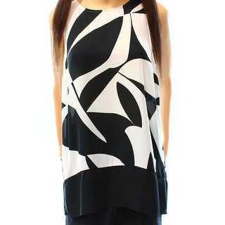 INC NEW Deep Black White Womens Size 12 Sleeveless Printed Blouse