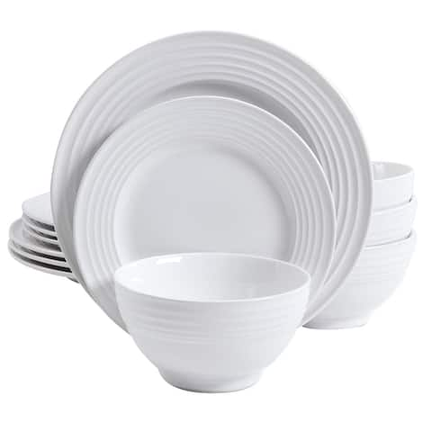 Gibson Banded Gloss 12 Piece Stoneware Dinnerware Set in White