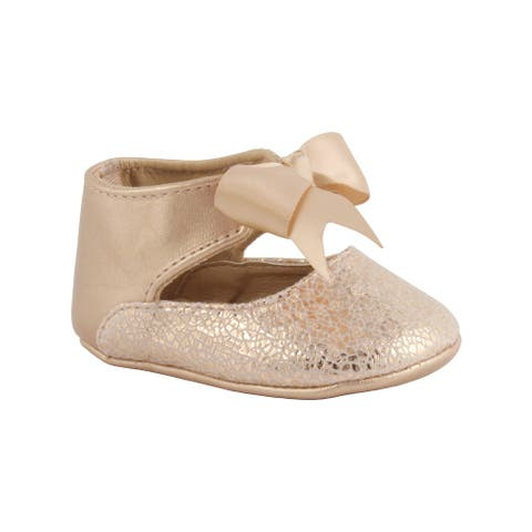 Baby Deer Girls Rose Gold Metallic Foil PU Ankle Strap Bow Dress Shoes