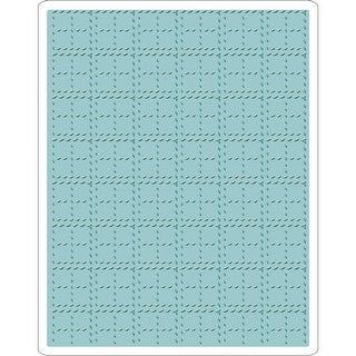 Sizzix Texture Fades A2 Embossing Folder-Stitched Plaid
