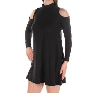 Womens Black Long Sleeve Micro Mini Shift Party Dress Size: 2XS