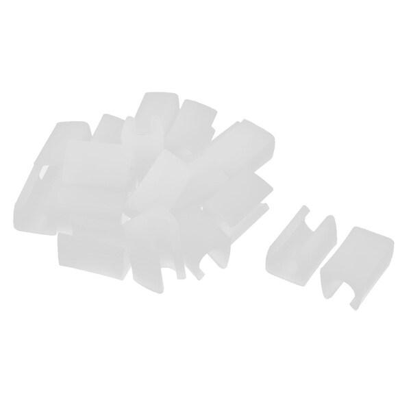 Unique Bargains 20 Pcs Antislip Plastic U Shape 12mm Chair Foot Cover Table Furniture Leg Protector White