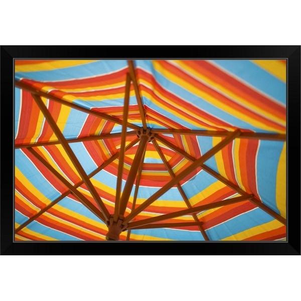 """Beach umbrella"" Black Framed Print"