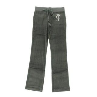 Juicy Couture Black Label Womens Royal Velour Low Waist Bootcut Pants