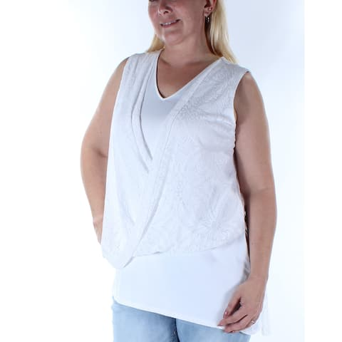 ALFANI Womens White Sleeveless V Neck Faux Wrap Top Size 14