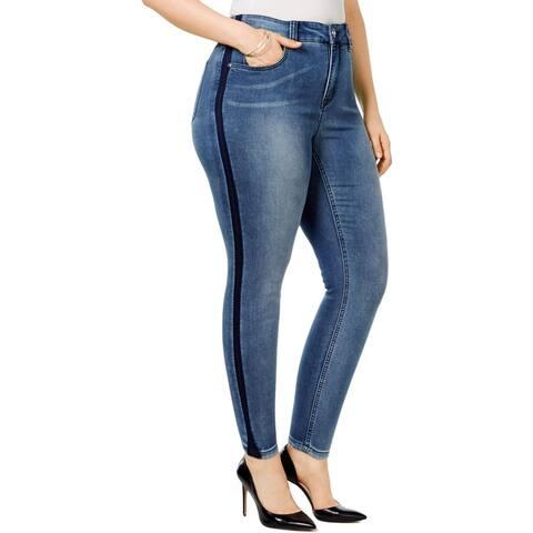 Seven7 Womens Plus Straight Leg Jeans Denim Slimming