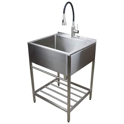 Transolid TFH-2522 25-in. Stainless Steel Laundry Sink with Wash Stand