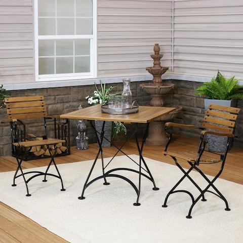Sunnydaze Essential European Chestnut Wood 3-Piece Folding Bistro Chair and Table Set