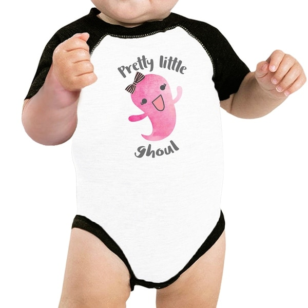 Pretty Little Ghoul Baby Halloween Baseball Bodysuit Baby Raglan Tee