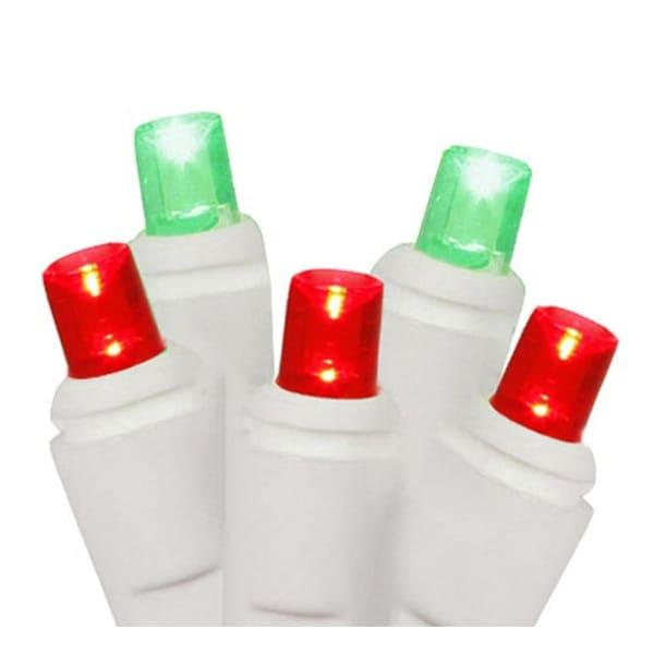 Set of 50 Red and Green Commercial Grade LED Wide Angle Christmas Lights - White Wire