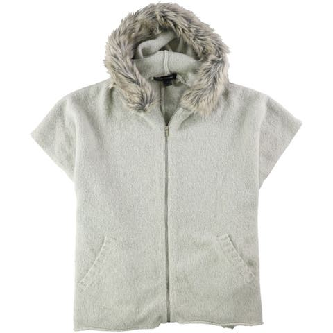 French Connection Womens Fall Fur Trim Poncho Sweater, grey, Large