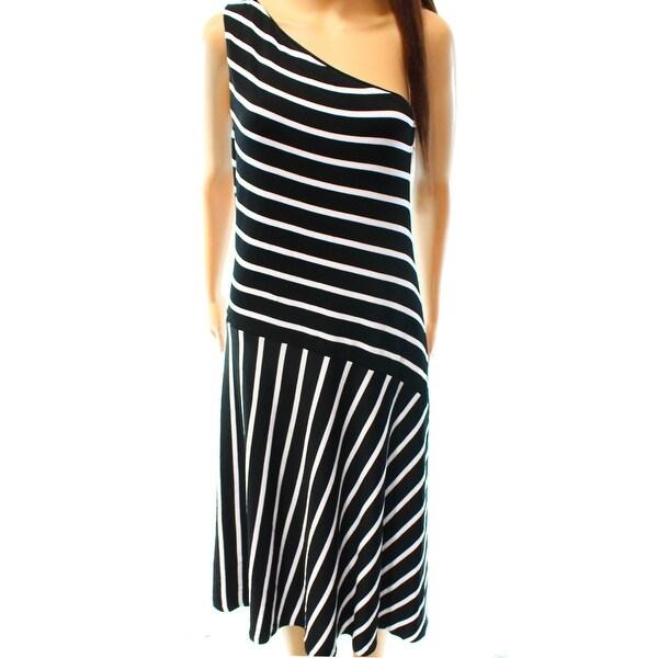 Shop Lauren Ralph Lauren New Black Womens Xs Striped One Shoulder