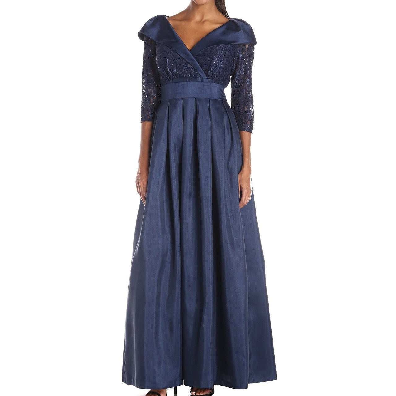 fa546fdfd1 Shop Jessica Howard NEW Navy Blue Women's 12 Pleated Lace Ball Gown - Free  Shipping On Orders Over $45 - Overstock - 18948024