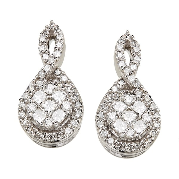 1/2 ct Diamond Twist Drop Earrings in 14K White Gold