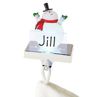 """6.75"""" LED Lighted Color Changing Frosted Snowman Christmas Stocking Holder for Personalization"""