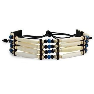 Handmade 4 Line Brown Buffalo Bone Hairpipe Tribal Choker Necklace For Women