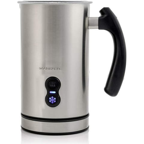 Ovente Electric Double Wall Insulated Milk Frother, Silver FR3608BR - 4oz/8oz