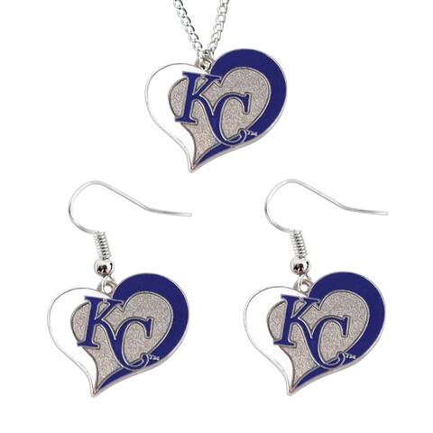 Kansas City Royals Swirl Heart Necklace And Dangle Earring Set Mlb Charm Gift
