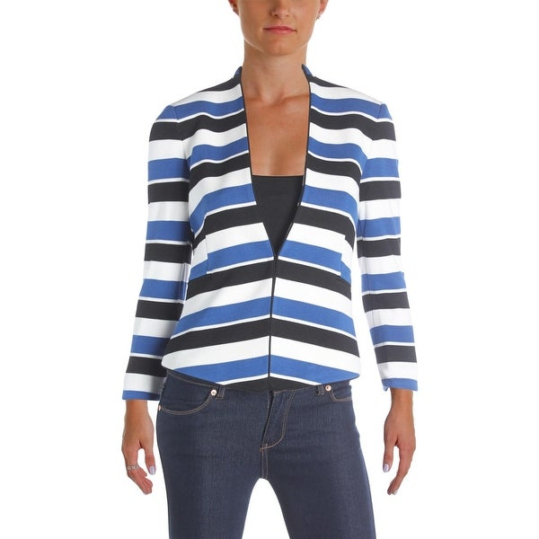 bca8d25a713d Shop Tahari ASL Womens Petites Collarless Blazer Textured Striped - 0p -  Free Shipping On Orders Over  45 - Overstock.com - 22751457