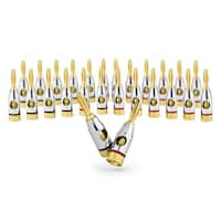 Sewell Ocelot Banana Plugs, 24k Gold Plated Connectors, Open Screw Type, 12 Pair