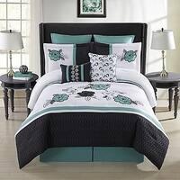 Elyse 8-Piece  Comforter Set in Aqua/Black