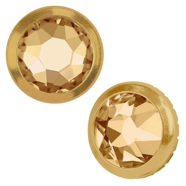Swarovski Elements Crystal, 2078/H Framed Round Flatback Rhinestone 7.8mm, 4 Pieces, Crystal Golden Shadow /