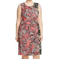 Nic + Zoe Red Tribal Tropical Print Women's 1X Plus Sheath Dress