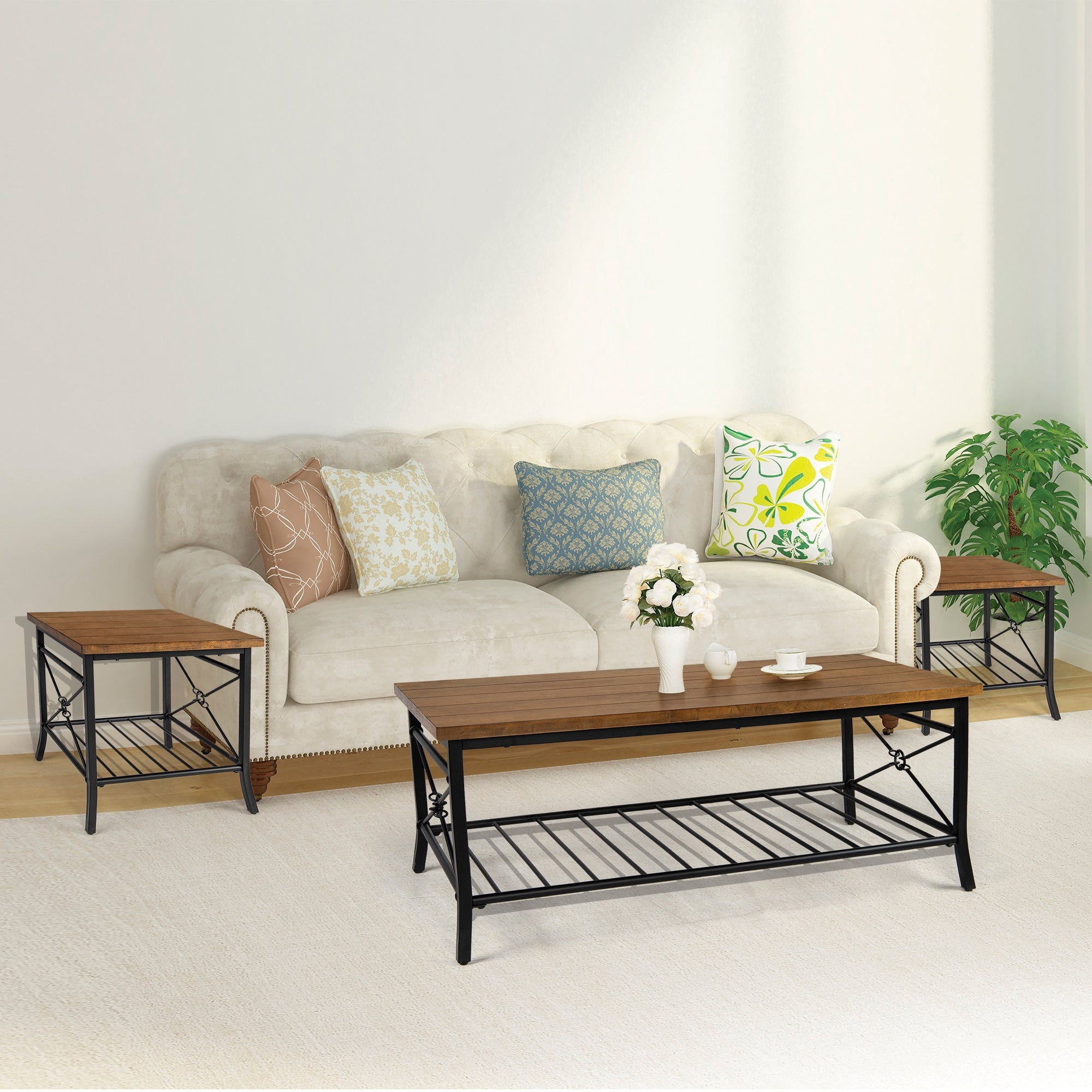 Shop Modern Farmhouse Wood Coffee Table Sets With Metal Storage Shelf 1 Coffee Table 2 Side Tables 48x24x18 Overstock 31292871