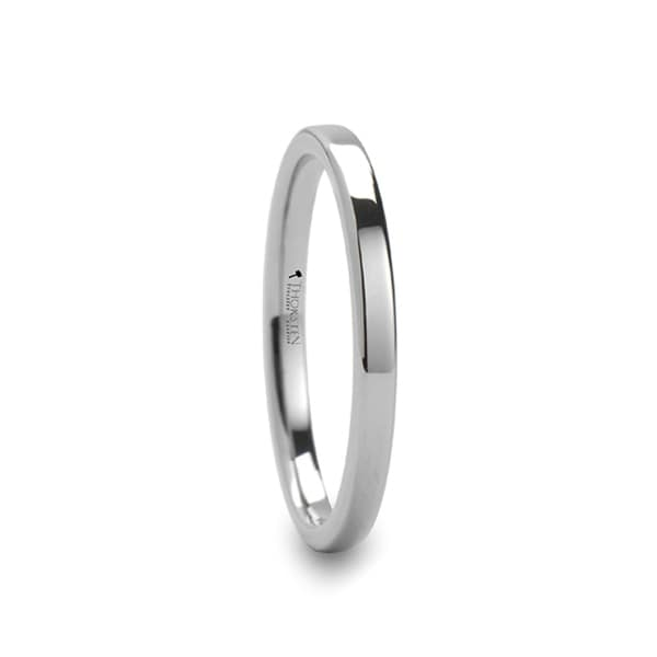 THORSTEN - STOCKTON Flat Style White Tungsten Ring - 2mm