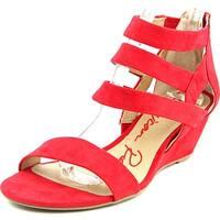 American Rag Casen Women  Open Toe Canvas Red Wedge Sandal