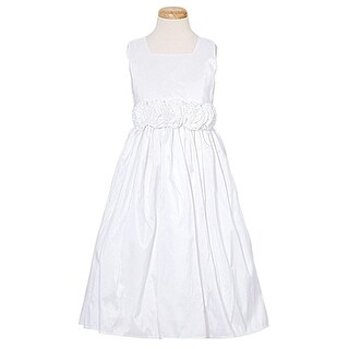 Sweet Kids White Taffeta Rosette Flower Toddler Girl Dress 6M-12