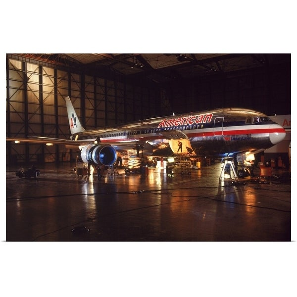 """""""Loading cargo into the airplane at night"""" Poster Print"""