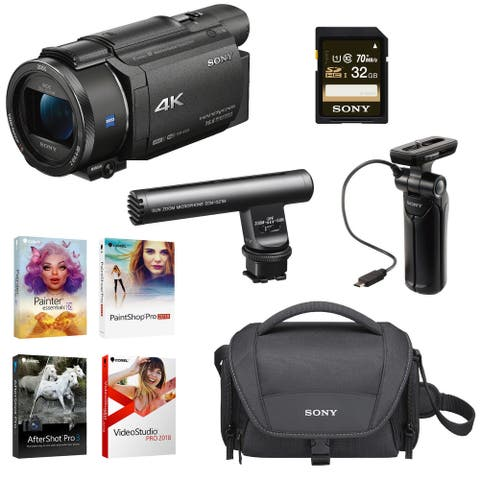 Sony FDR-AX53/B 4K Camcorder with Grip/Tripod and Gun Zoom Mic Bundle