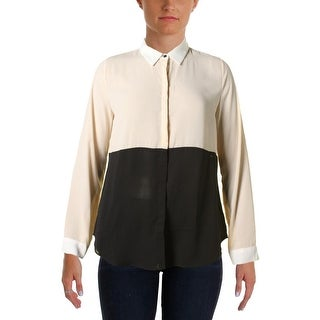 Sanctuary Womens Colorblocked Long Sleeve Button-Down Top